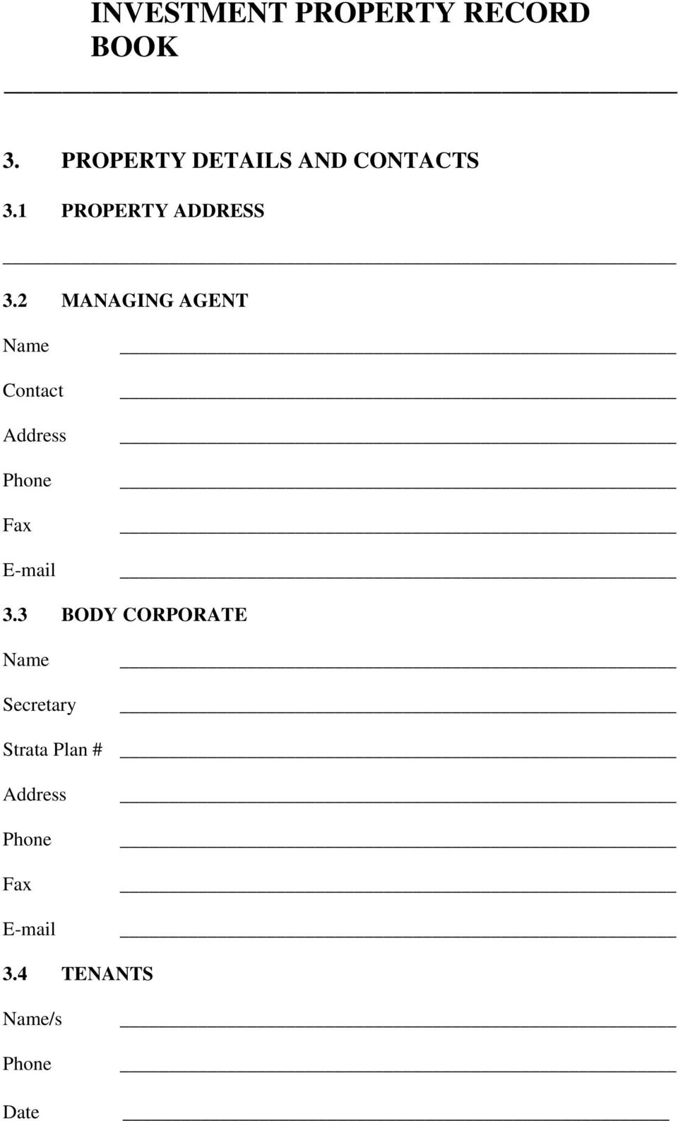 2 MANAGING AGENT Name Contact Address Fax E-mail