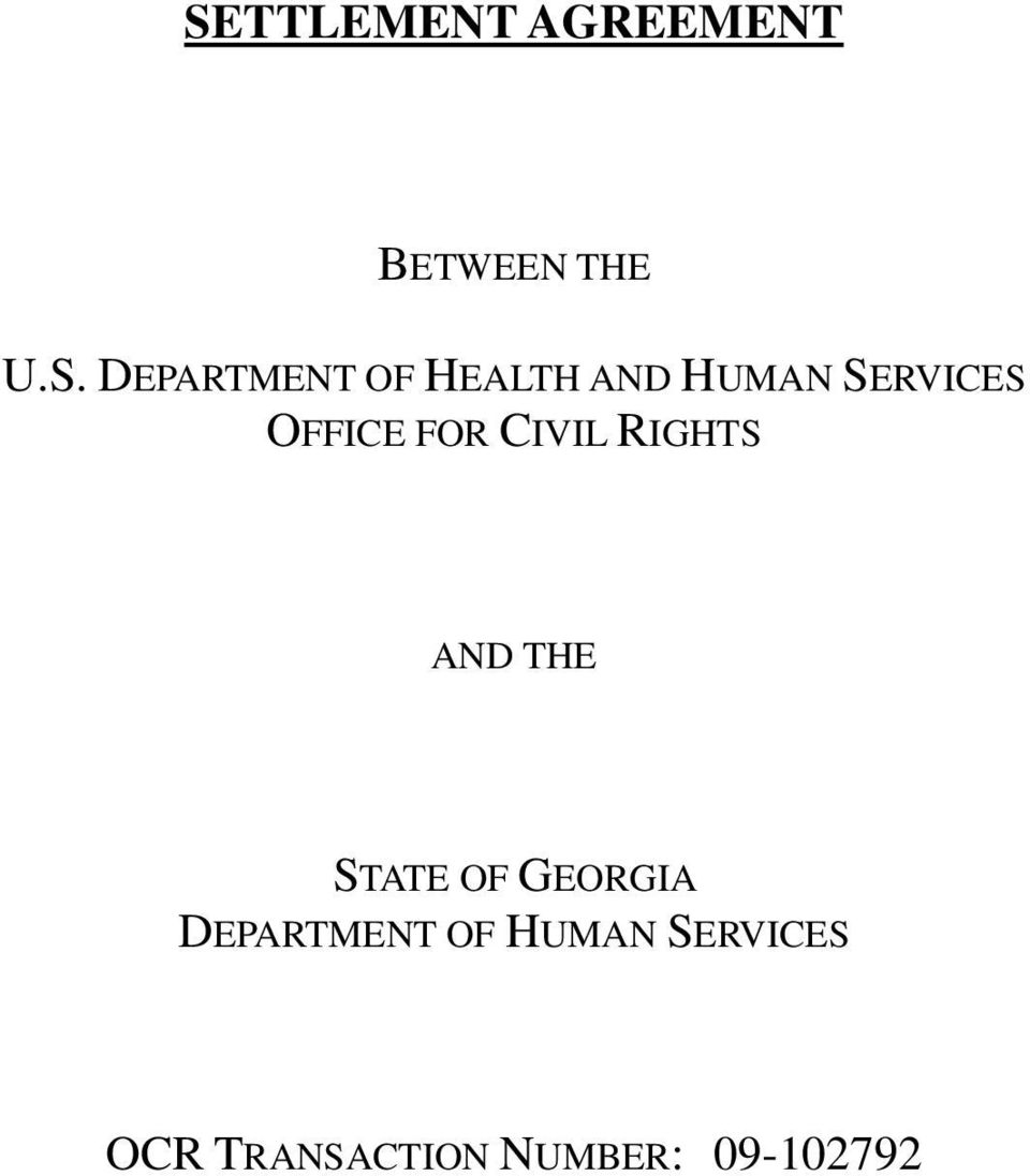 FOR CIVIL RIGHTS AND THE STATE OF GEORGIA