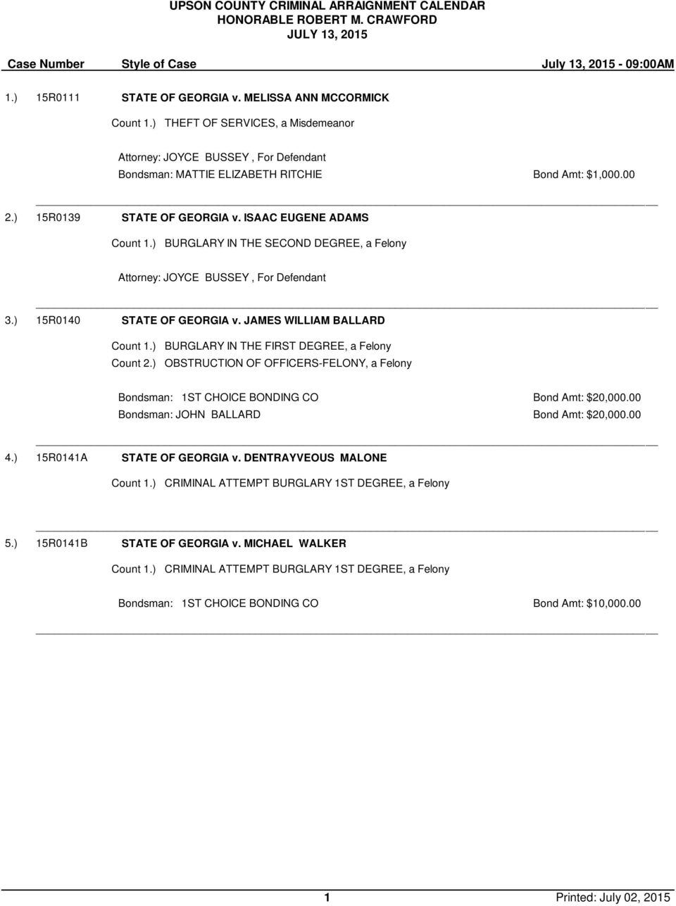 ISAAC EUGENE ADAMS BURGLARY IN THE SECOND DEGREE, a Felony Attorney: JOYCE BUSSEY, For Defendant 3.) 15R0140 STATE OF GEORGIA v. JAMES WILLIAM BALLARD Count 2.