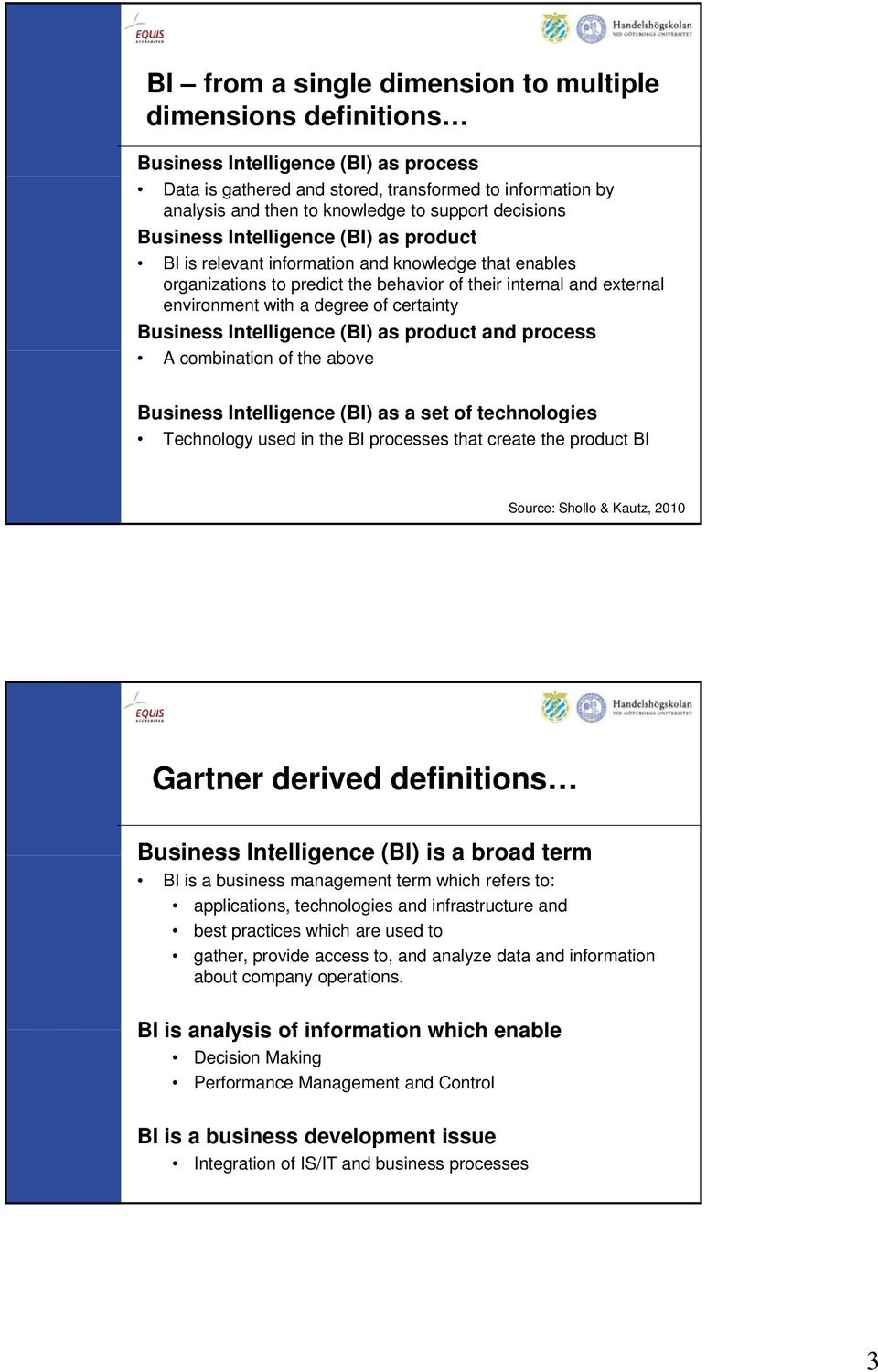 degree of certainty Business Intelligence (BI) as product and process A combination of the above Business Intelligence (BI) as a set of technologies Technology used in the BI processes that create