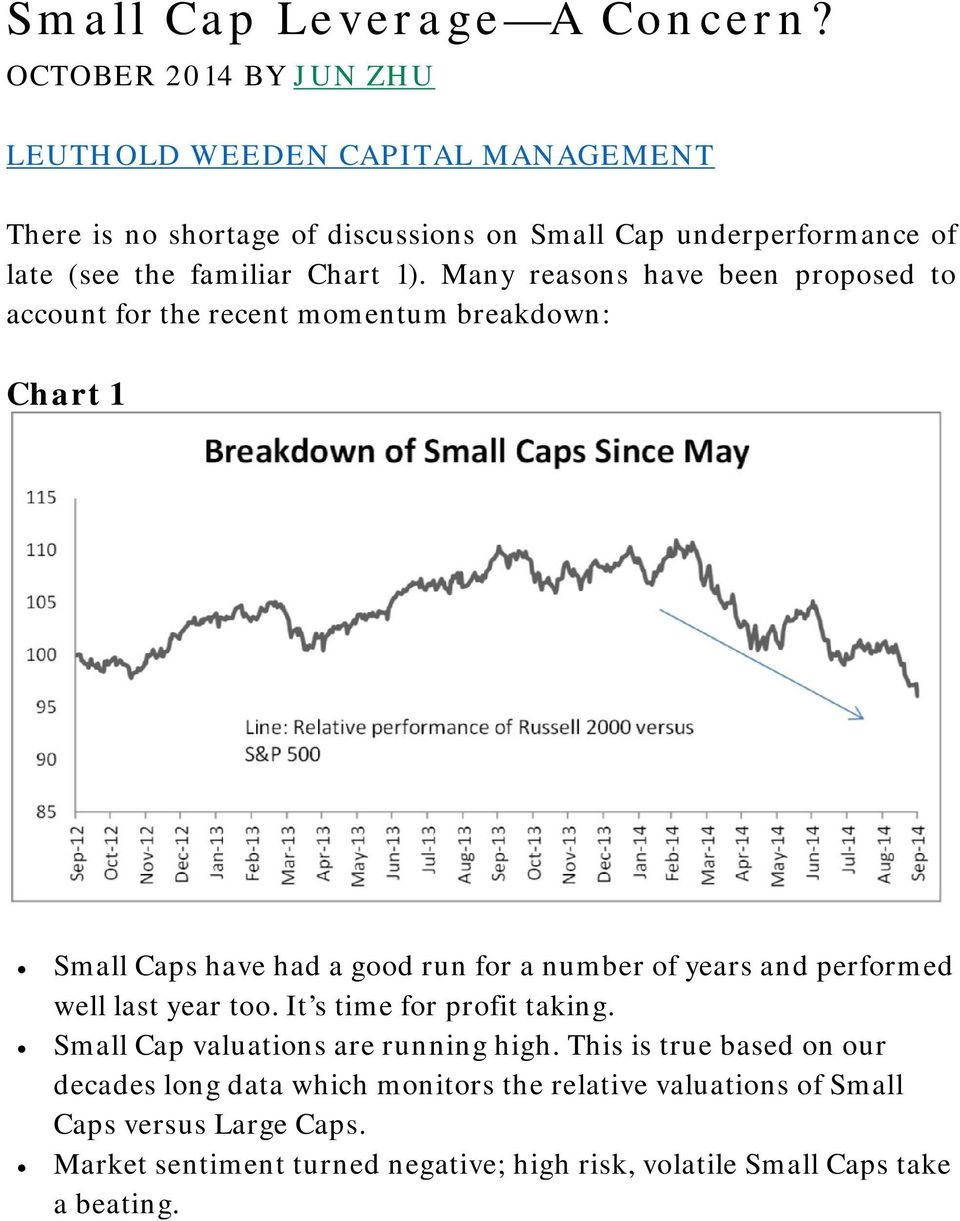 1). Many reasons have been proposed to account for the recent momentum breakdown: Chart 1 Small Caps have had a good run for a number of years and performed