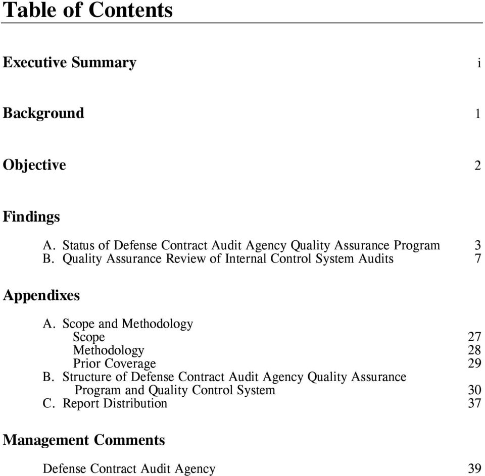 Quality Assurance Review of Internal Control System Audits 7 Appendixes A.