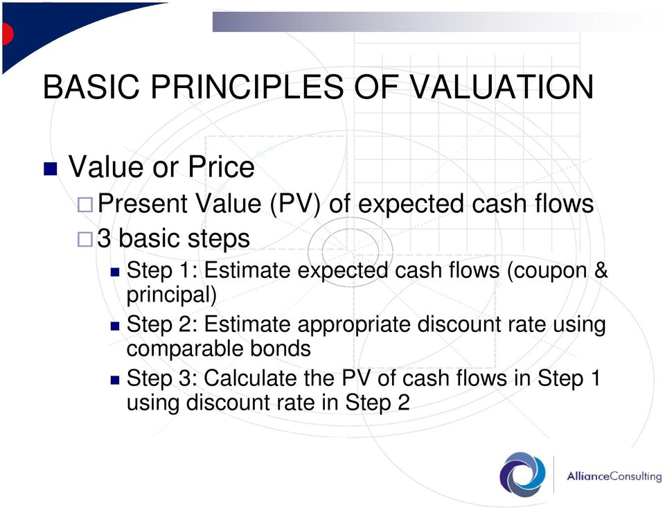 principal) Step 2: Estimate appropriate discount rate using comparable