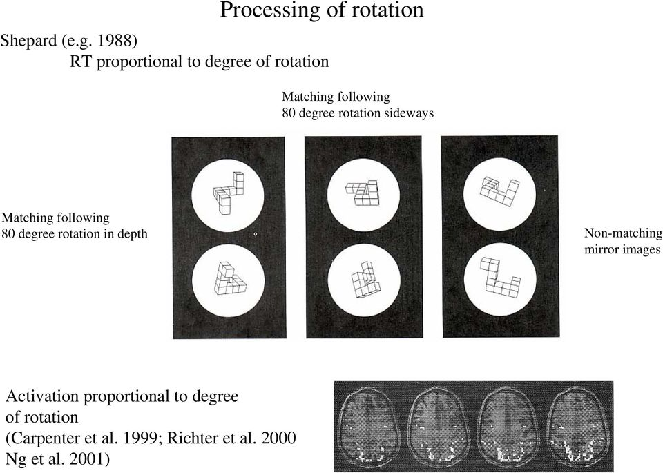 1988) RT proportional to degree of rotation Matching following 80 degree