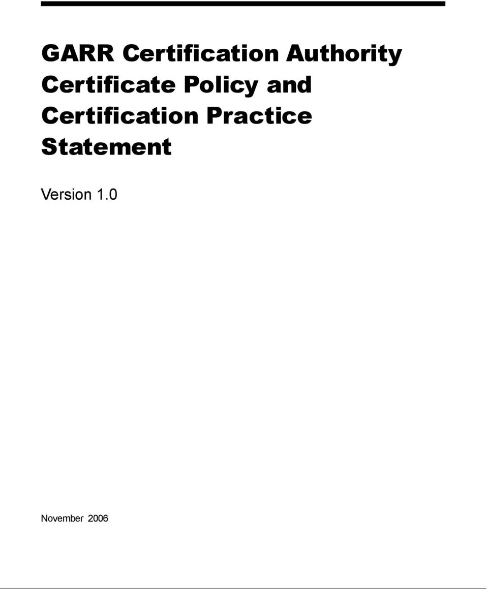 Policy and Certification