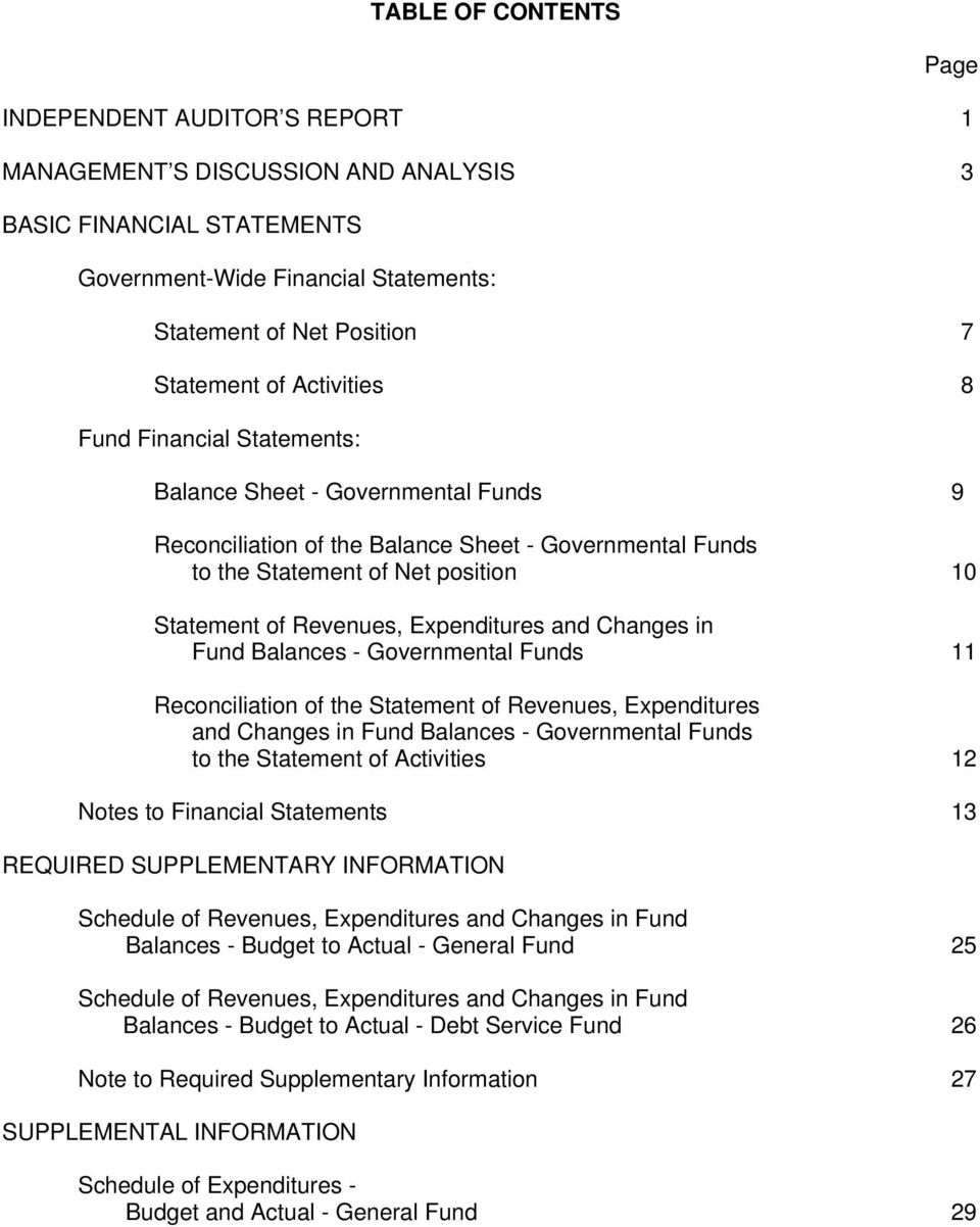 Expenditures and Changes in Fund Balances - Governmental Funds 11 Reconciliation of the Statement of Revenues, Expenditures and Changes in Fund Balances - Governmental Funds to the Statement of