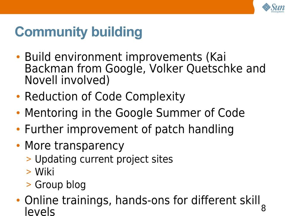 Summer of Code Further improvement of patch handling More transparency > Updating