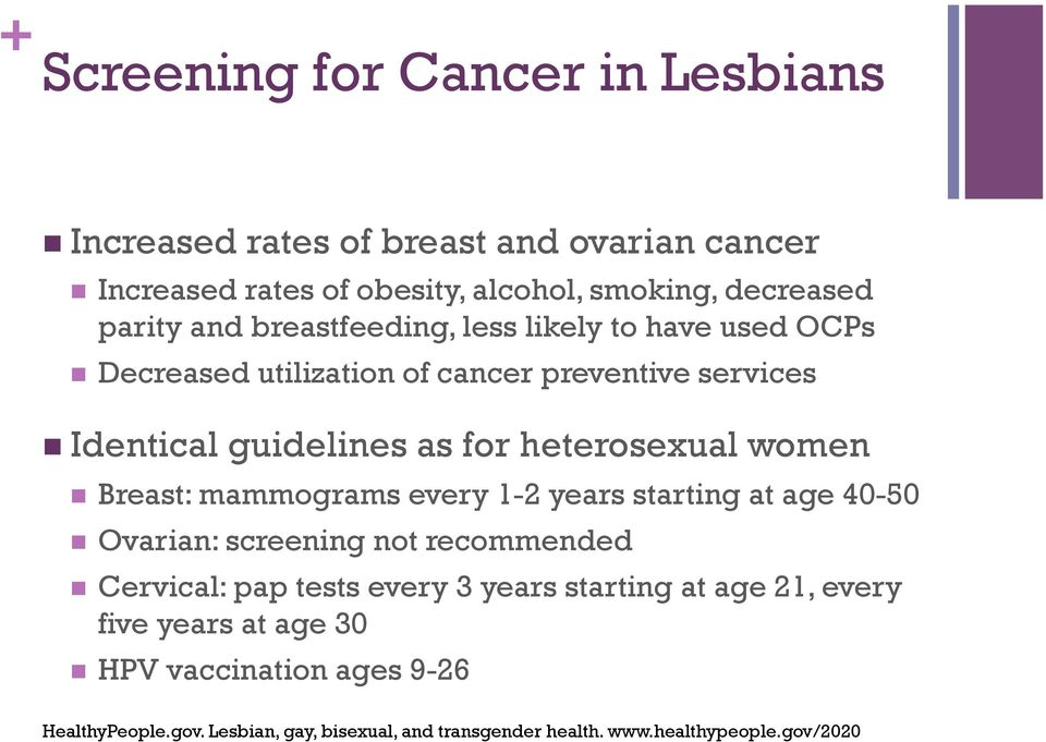 women n Breast: mammograms every 1-2 years starting at age 40-50 n Ovarian: screening not recommended n Cervical: pap tests every 3 years starting at