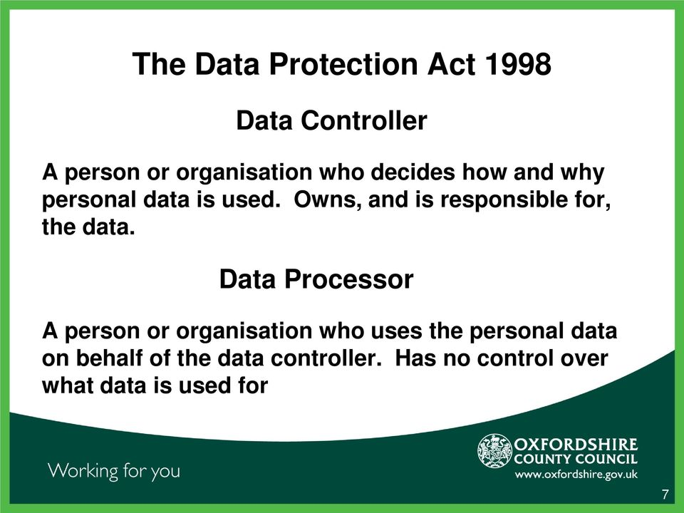 Data Processor A person or organisation who uses the personal data