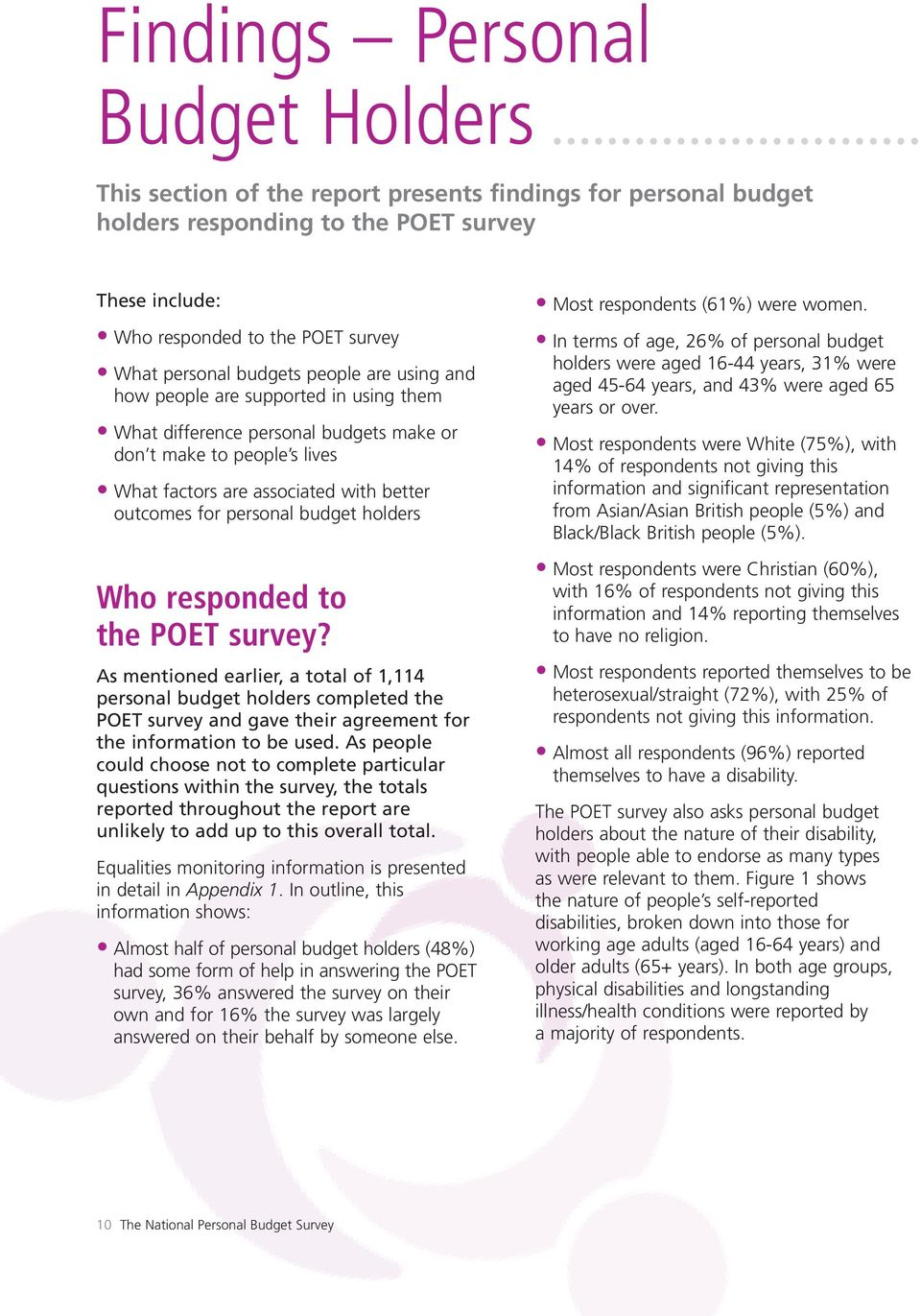 budget holders Who responded to the POET survey? As mentioned earlier, a total of 1,114 personal budget holders completed the POET survey and gave their agreement for the information to be used.