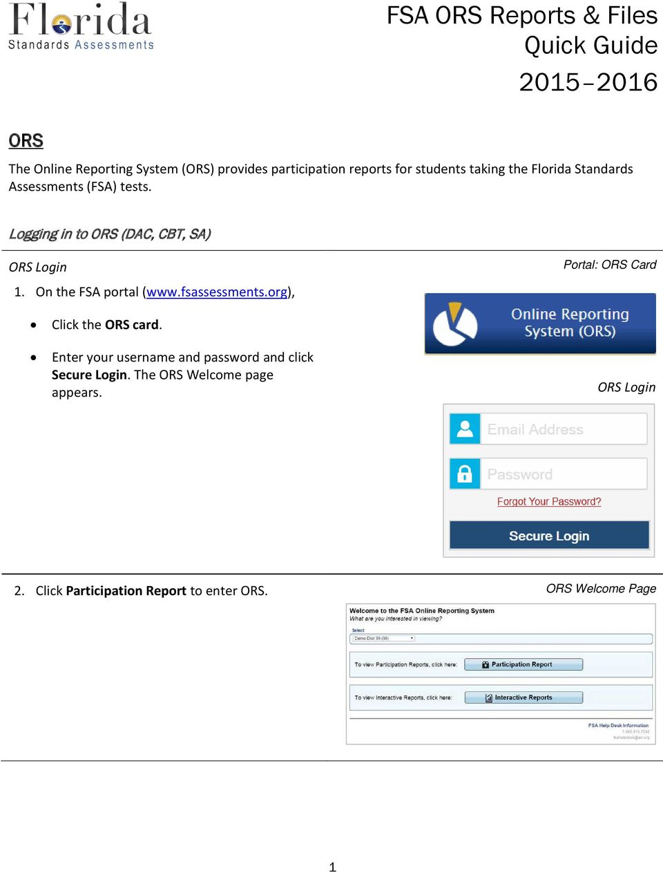 fsassessments.org), Portal: ORS Card Click the ORS card.