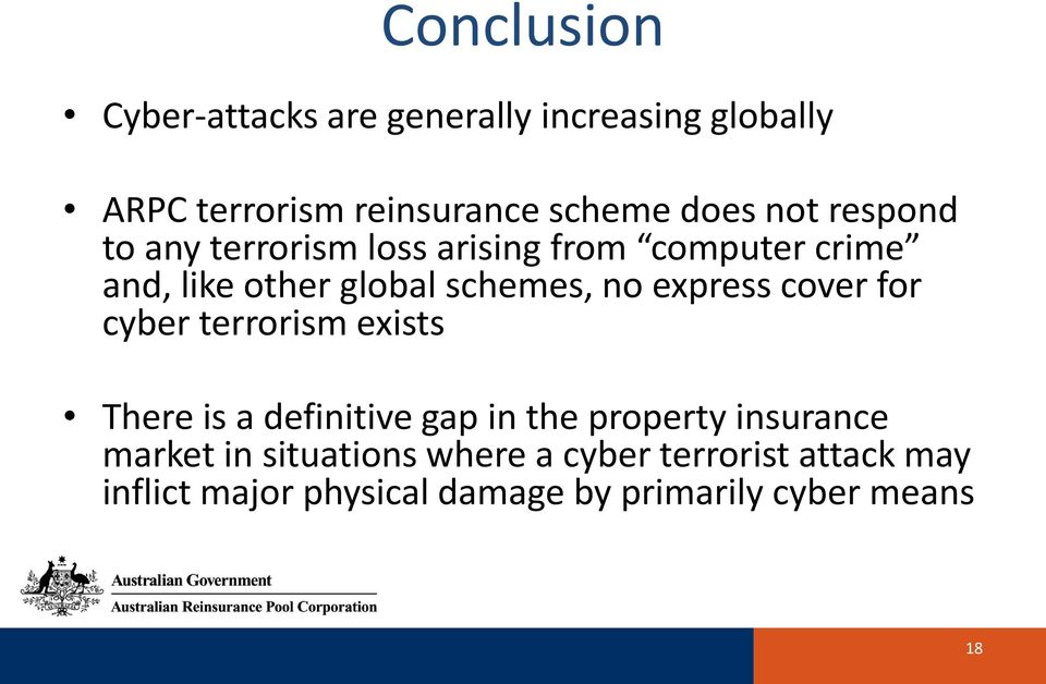 express cover for cyber terrorism exists There is a definitive gap in the property insurance market