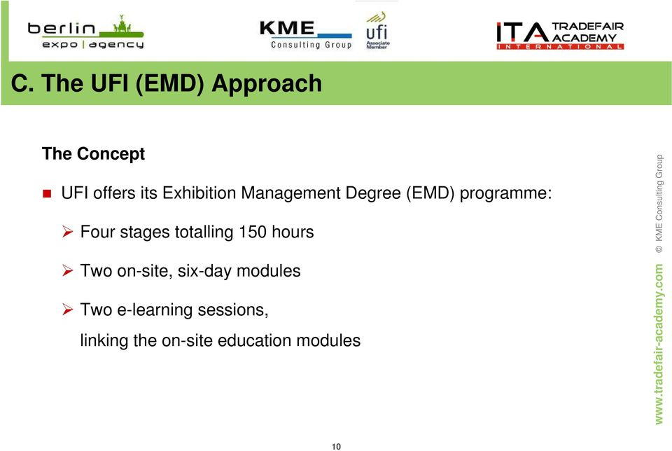 stages totalling 150 hours Two on-site, six-day modules