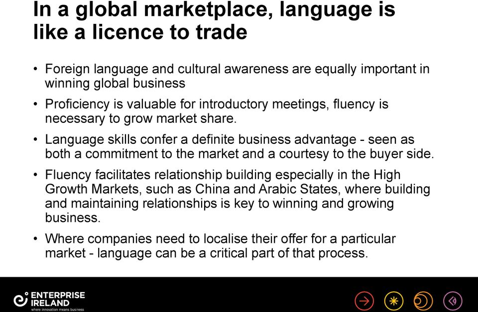 Language skills confer a definite business advantage - seen as both a commitment to the market and a courtesy to the buyer side.