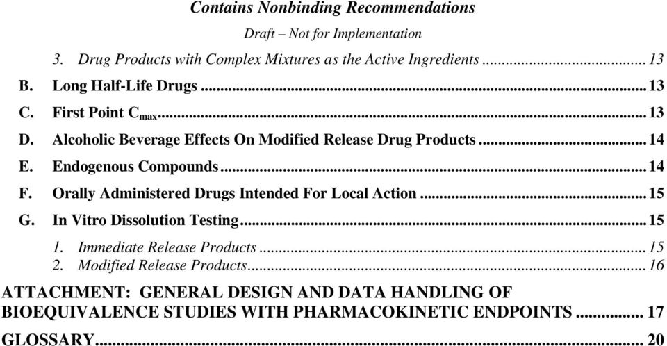 Orally Administered Drugs Intended For Local Action...15 G. In Vitro Dissolution Testing...15 1. Immediate Release Products.