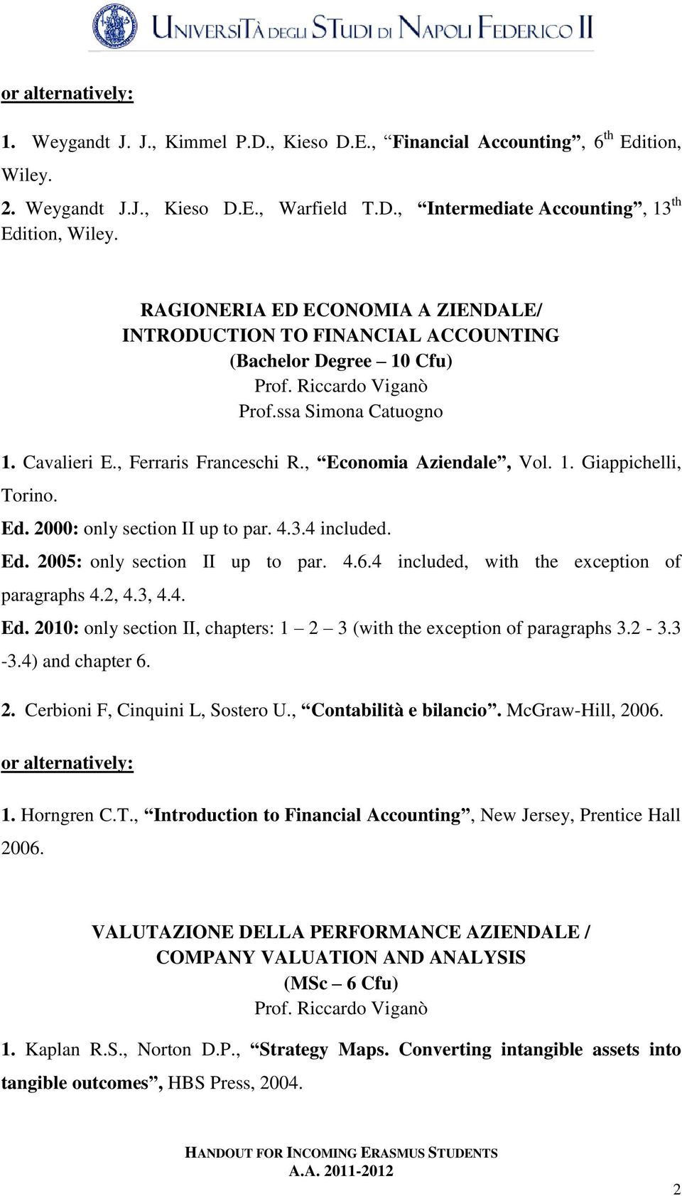 , Economia Aziendale, Vol. 1. Giappichelli, Torino. Ed. 2000: only section II up to par. 4.3.4 included. Ed. 2005: only section II up to par. 4.6.4 included, with the exception of paragraphs 4.2, 4.