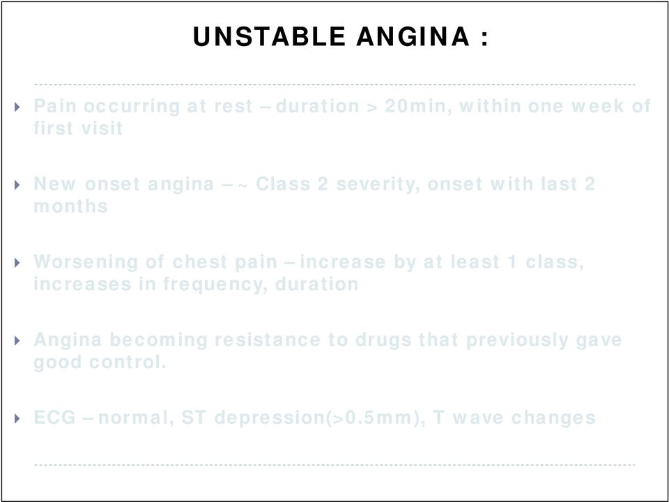 increase by at least 1 class, increases in frequency, duration Angina becoming resistance