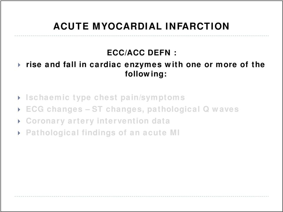 chest pain/symptoms ECG changes ST changes, pathological Q waves