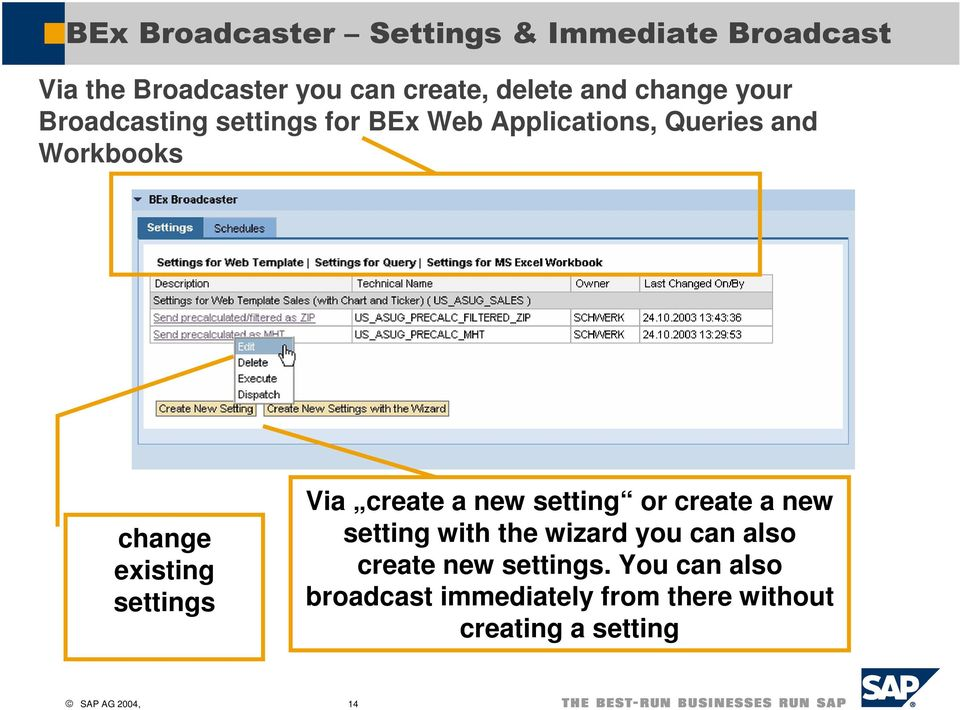 new setting or create a new setting with the wizard you can also create new settings.