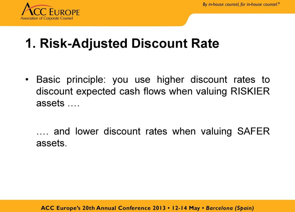 expected cash flows when valuing RISKIER assets.