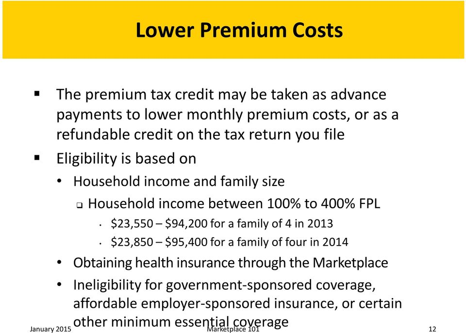family of 4 in 2013 $23,850 $95,400 for a family of four in 2014 Obtaining health insurance through the Marketplace Ineligibility for