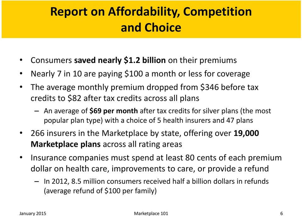 An average of $69 per month after tax credits for silver plans (the most popular plan type) with a choice of 5 health insurers and 47 plans 266 insurers in the Marketplace by state, offering over