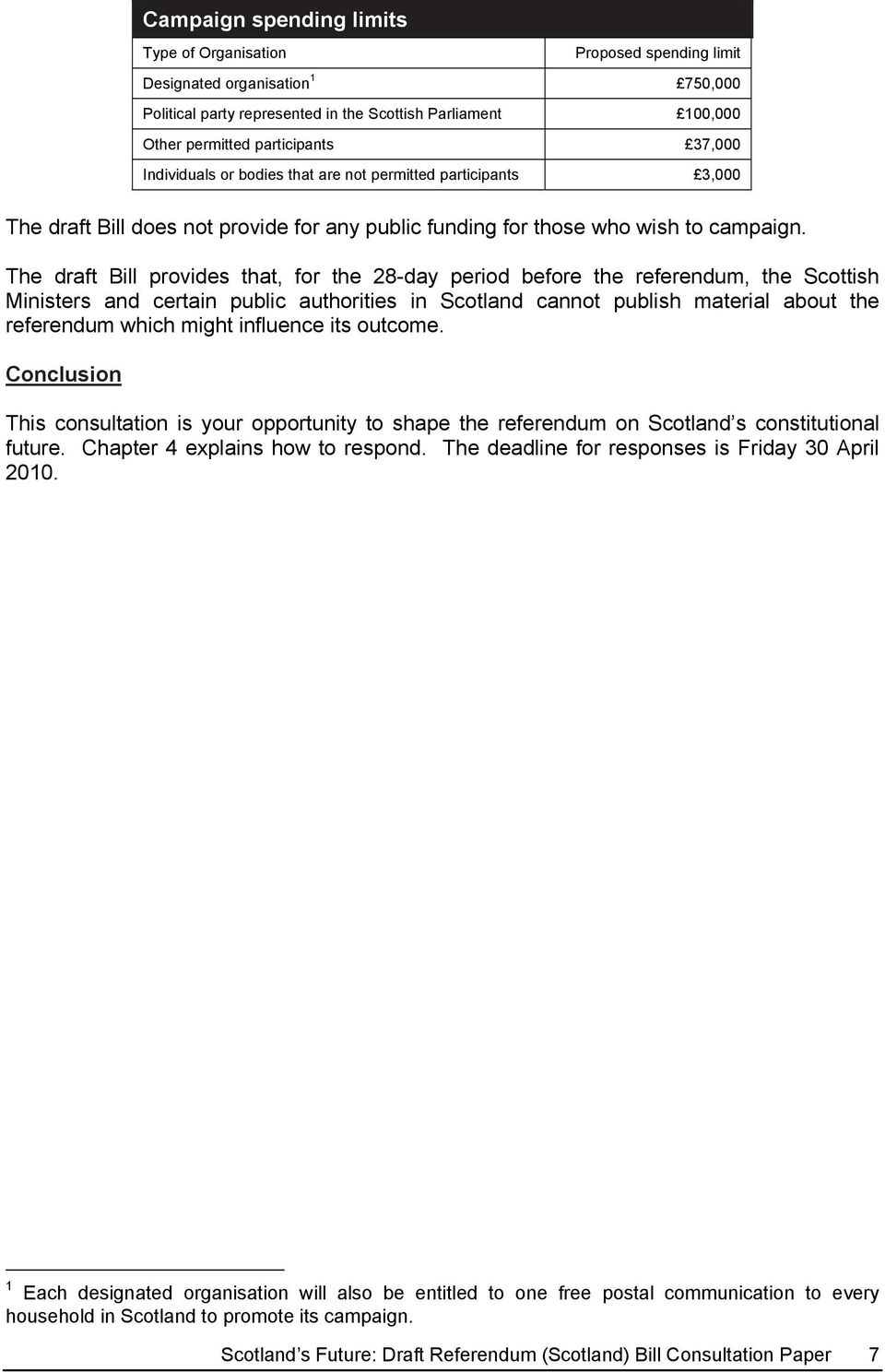 The draft Bill provides that, for the 28-day period before the referendum, the Scottish Ministers and certain public authorities in Scotland cannot publish material about the referendum which might