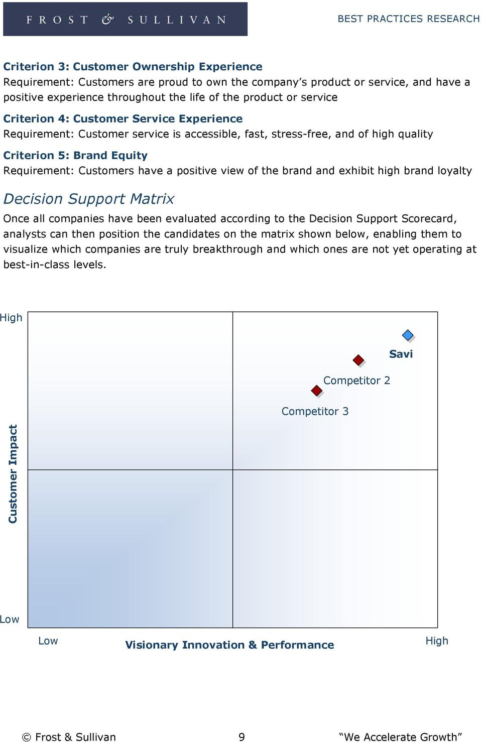 the brand and exhibit high brand loyalty Decision Support Matrix Once all companies have been evaluated according to the Decision Support Scorecard, analysts can then position the candidates on the