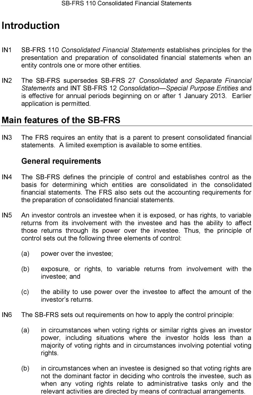 The SB-FRS supersedes SB-FRS 27 Consolidated and Separate Financial Statements and INT SB-FRS 12 Consolidation Special Purpose Entities and is effective for annual periods beginning on or after 1