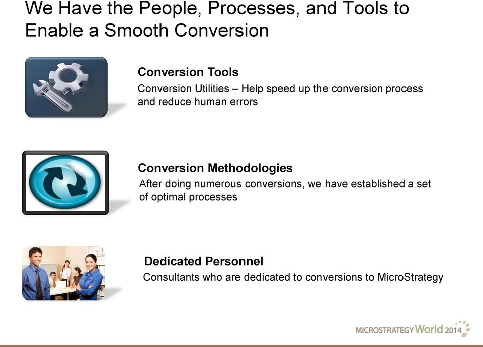 Conversion Methodologies After doing numerous conversions, we have established a set of