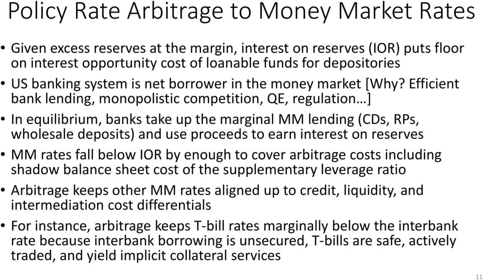 Efficient bank lending, monopolistic competition, QE, regulation ] In equilibrium, banks take up the marginal MM lending (CDs, RPs, wholesale deposits) and use proceeds to earn interest on reserves