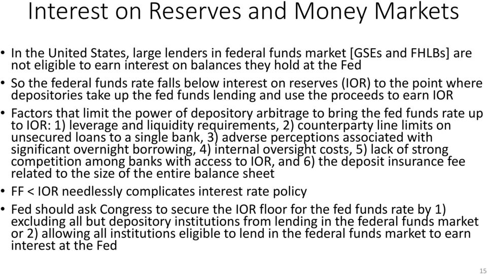 to bring the fed funds rate up to IOR: 1) leverage and liquidity requirements, 2) counterparty line limits on unsecured loans to a single bank, 3) adverse perceptions associated with significant