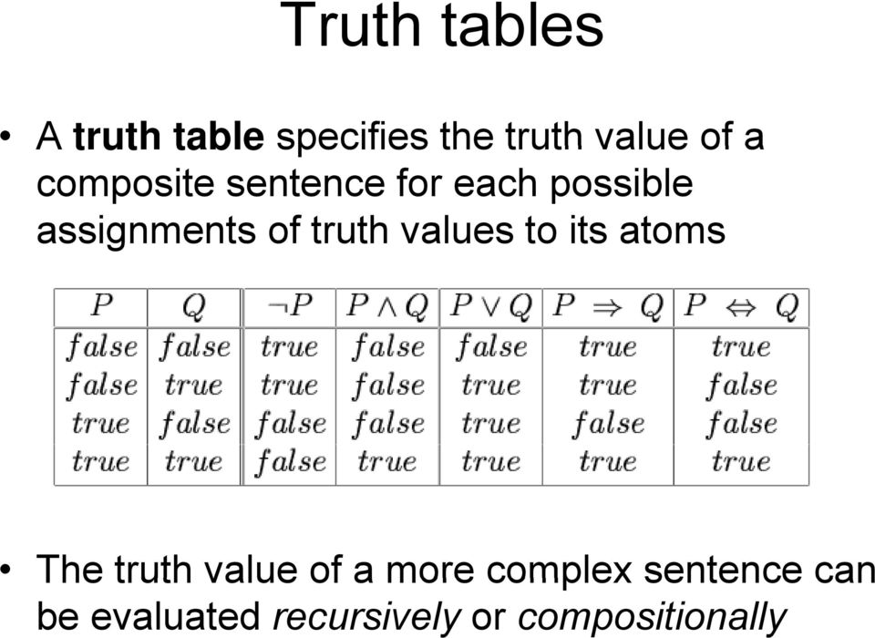 The truth value of a more complex sentence can The truth value of a