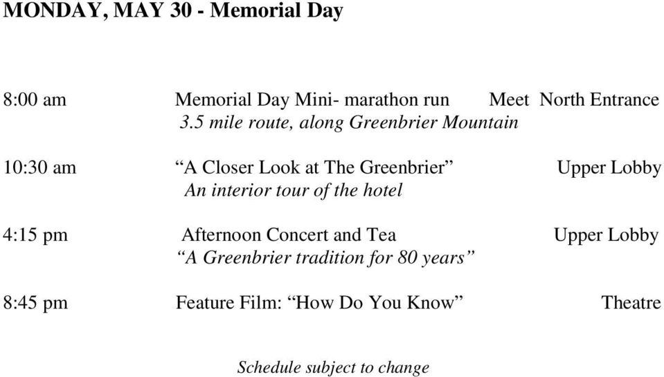 Schedule Of Events 10 00 Am 11 00 Pm Roberto Coin Trunk