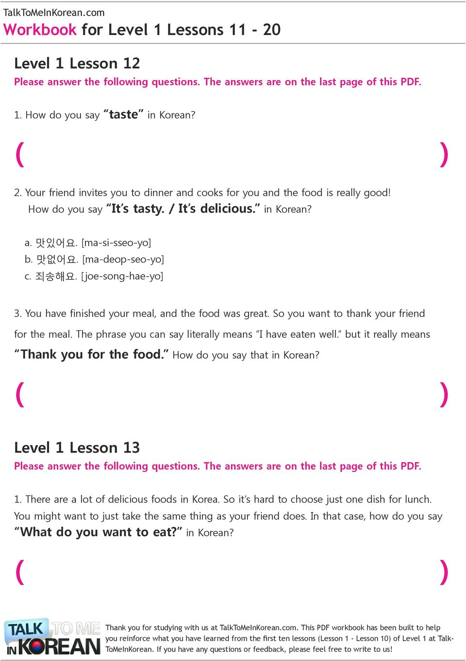 Level 1 Lesson 11  TalkToMeInKorean com Workbook for Level 1