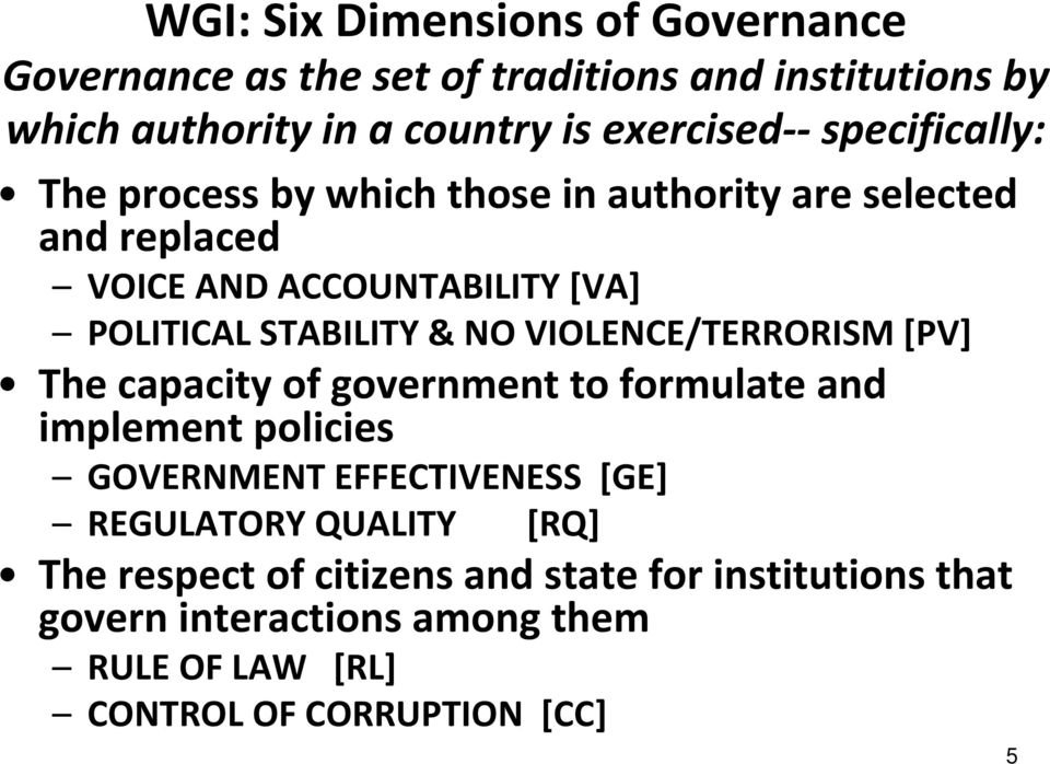 VIOLENCE/TERRORISM [PV] The capacity of government to formulate and implement policies GOVERNMENT EFFECTIVENESS [GE] REGULATORY
