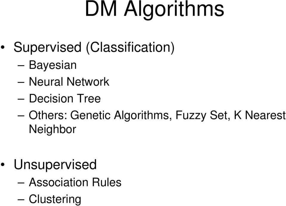 Others: Genetic Algorithms, Fuzzy Set, K