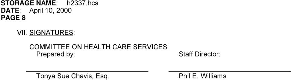 CARE SERVICES: Prepared by: