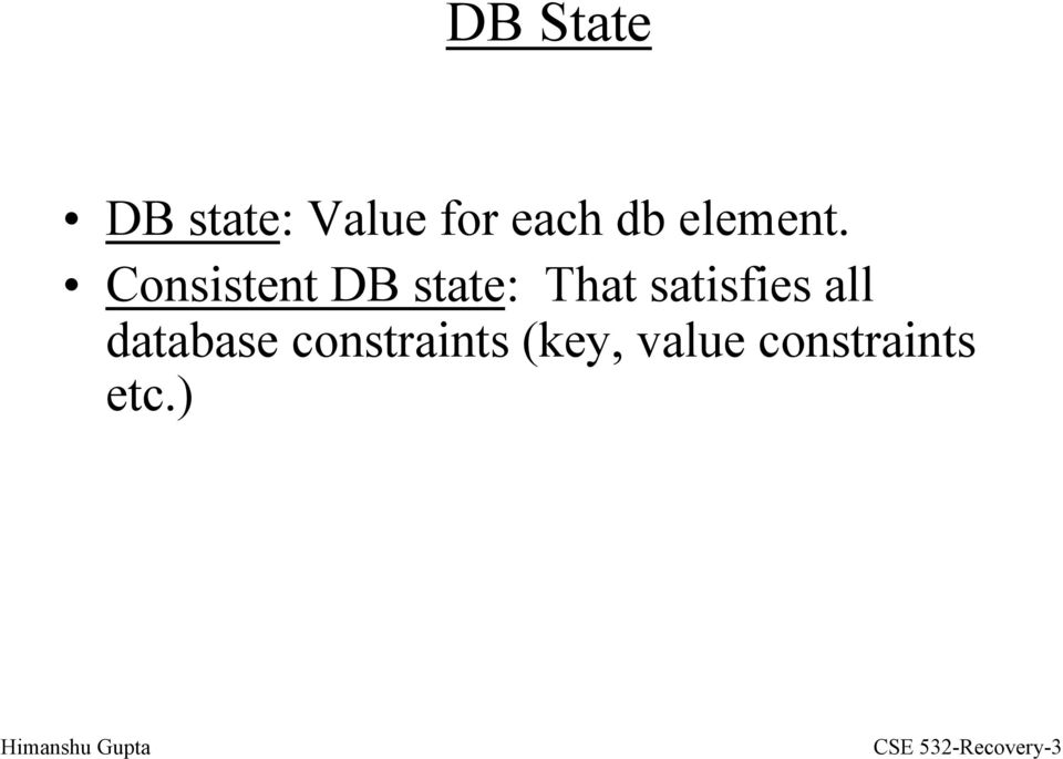 Consistent DB state: That satisfies