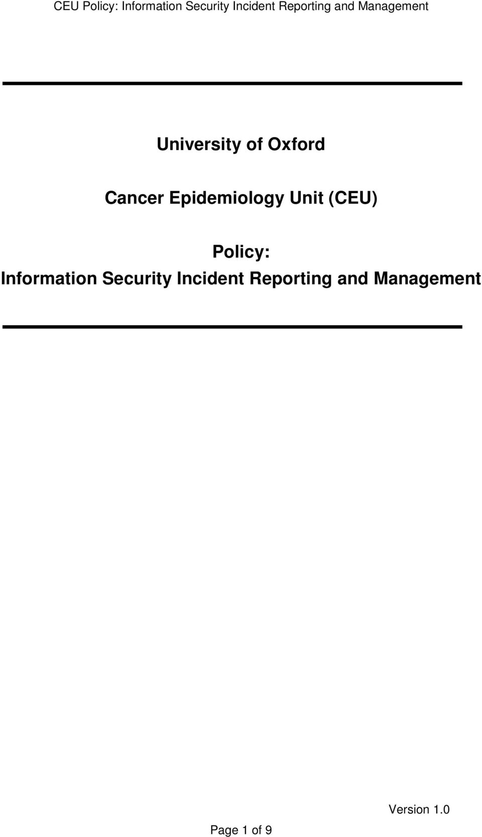 Information Security Incident