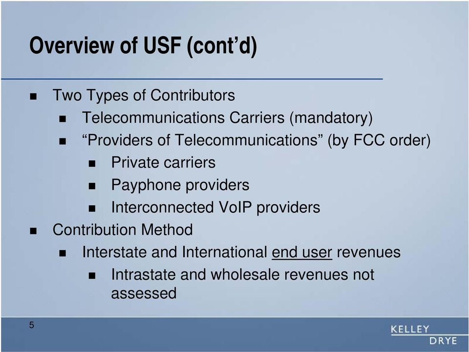 Payphone providers Interconnected VoIP providers Contribution Method Interstate