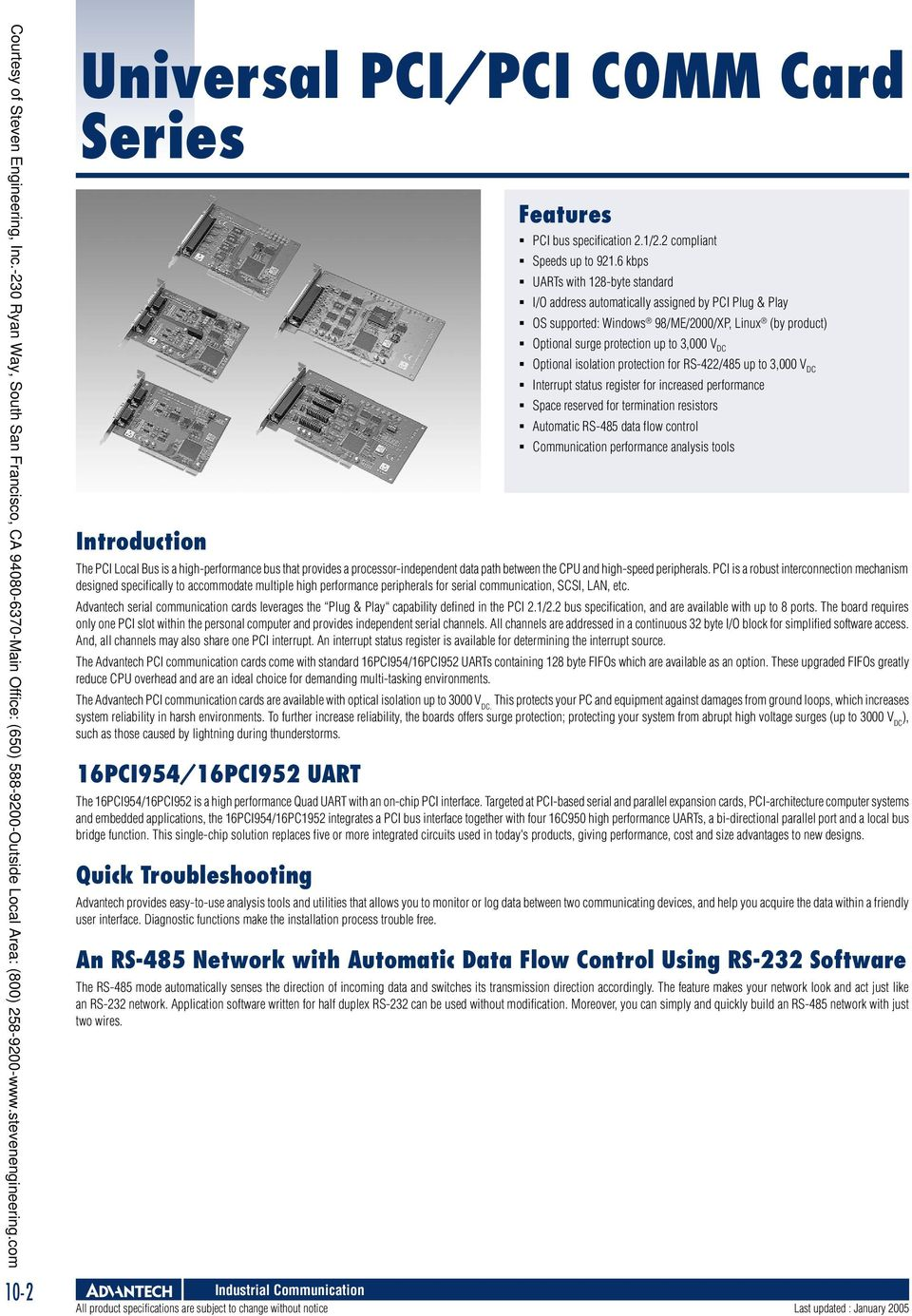 Industrial Communication Pdf Rs 485 Data Interface Gives Isolated Full Duplex Operation Advantech Serial Cards Leverages The Plug Play Capability Defined In Pci