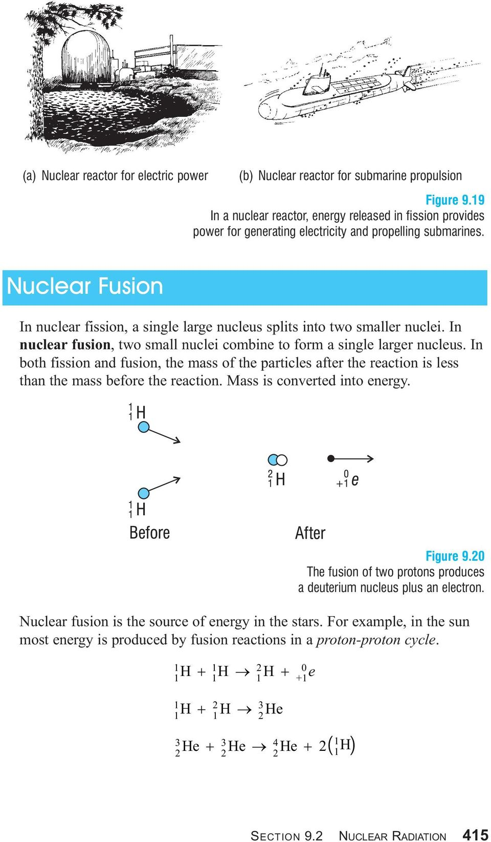 Nuclear Fusion In nuclear fission, a single large nucleus splits into two smaller nuclei. In nuclear fusion, two small nuclei combine to form a single larger nucleus.