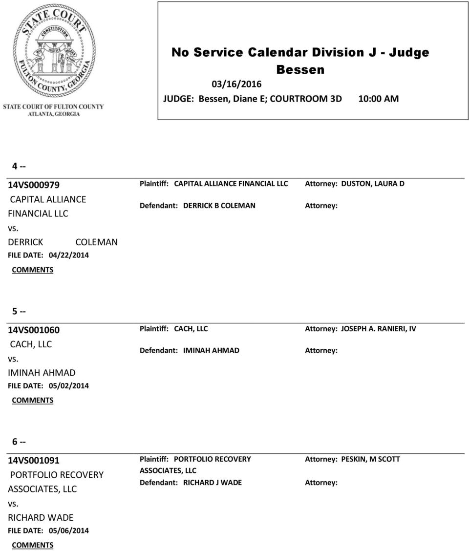 05/02/2014 Plaintiff: CACH, LLC Defendant: IMINAH AHMAD JOSEPH A.