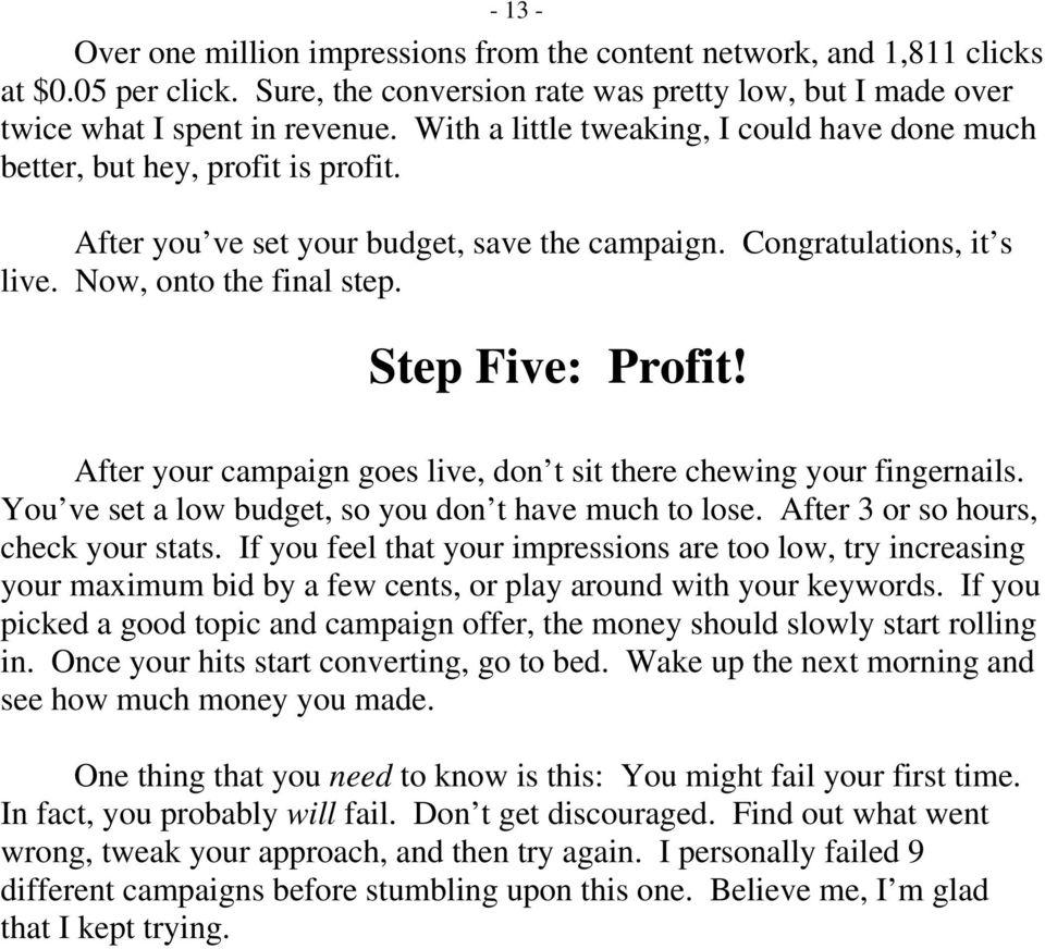 Step Five: Profit! After your campaign goes live, don t sit there chewing your fingernails. You ve set a low budget, so you don t have much to lose. After 3 or so hours, check your stats.