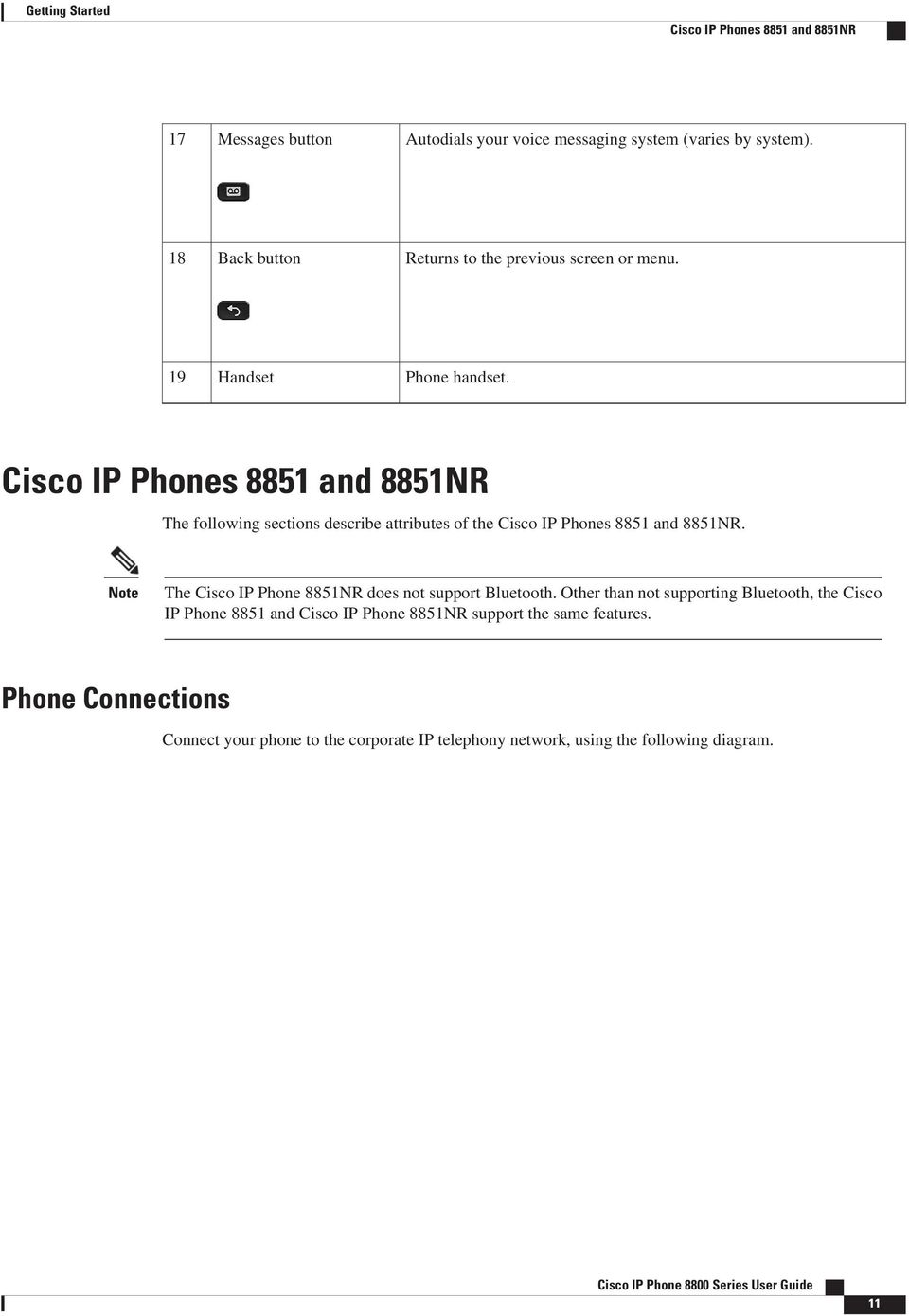 Cisco IP Phones 8851 and 8851NR The following sections describe attributes of the Cisco IP Phones 8851 and 8851NR.
