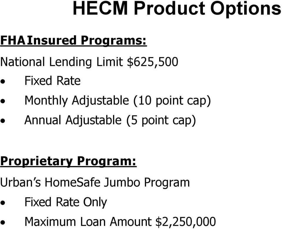 Annual Adjustable (5 point cap) Proprietary Program: Urban s