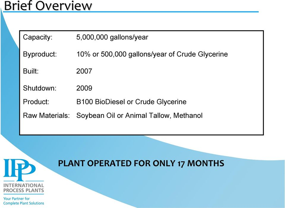2009 Product: Raw Materials: B100 BioDiesel or Crude Glycerine