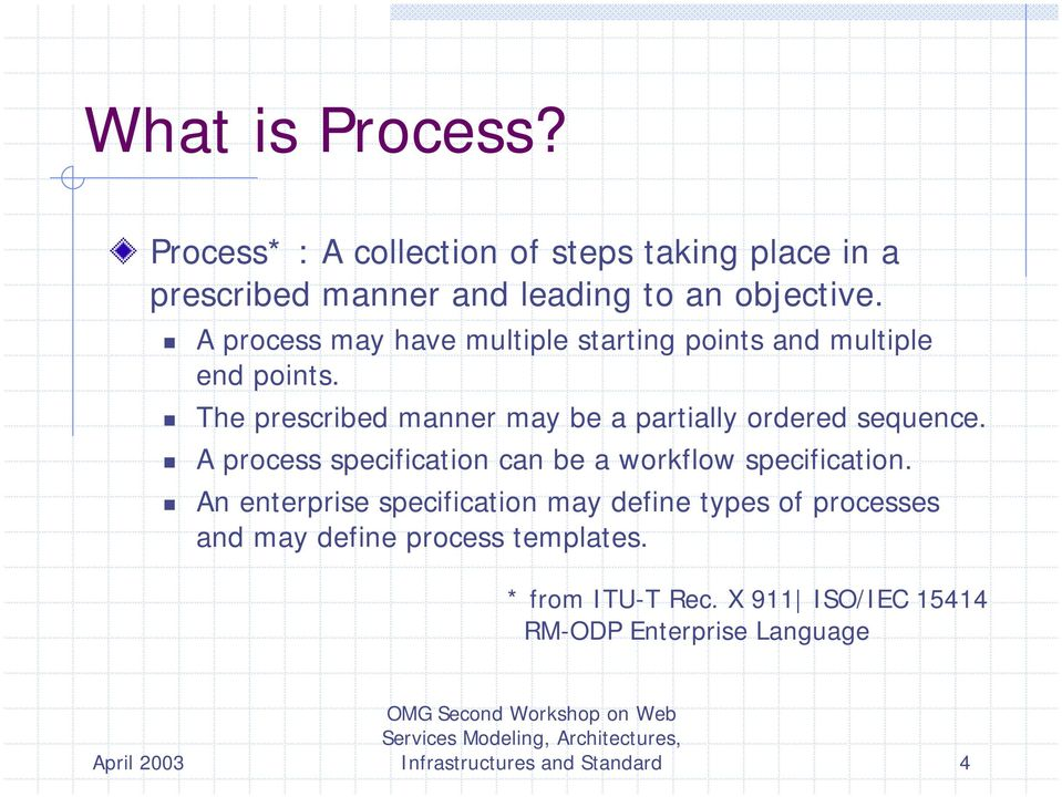 ! The prescribed manner may be a partially ordered sequence.! A process specification can be a workflow specification.