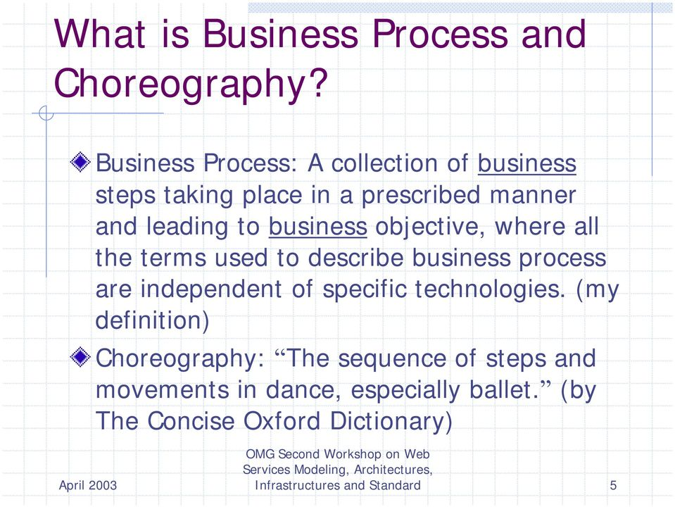 business objective, where all the terms used to describe business process are independent of specific